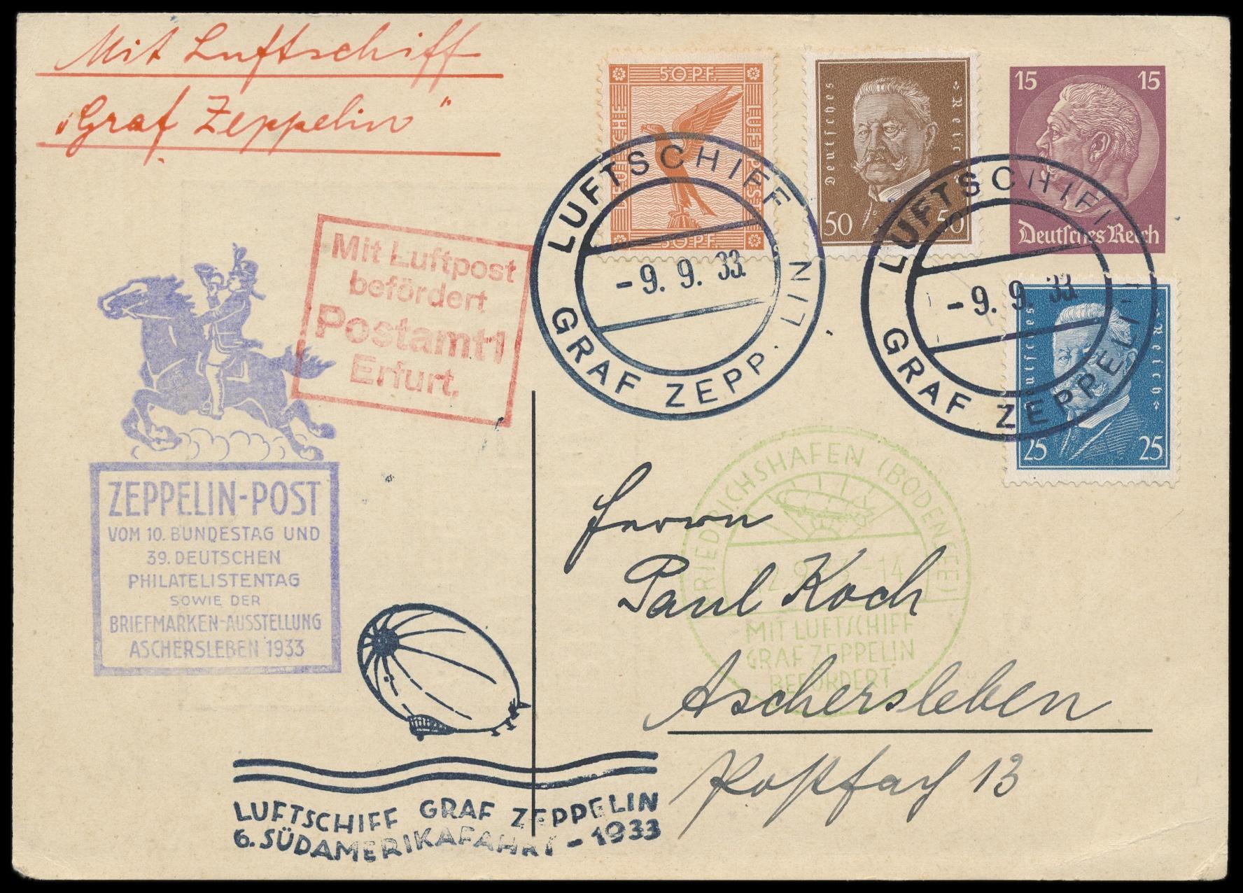 Lot 1888 - Flug- und Zeppelinpost zeppelinpost -  Peter Harlos Auctions 42. Harlos Auktion