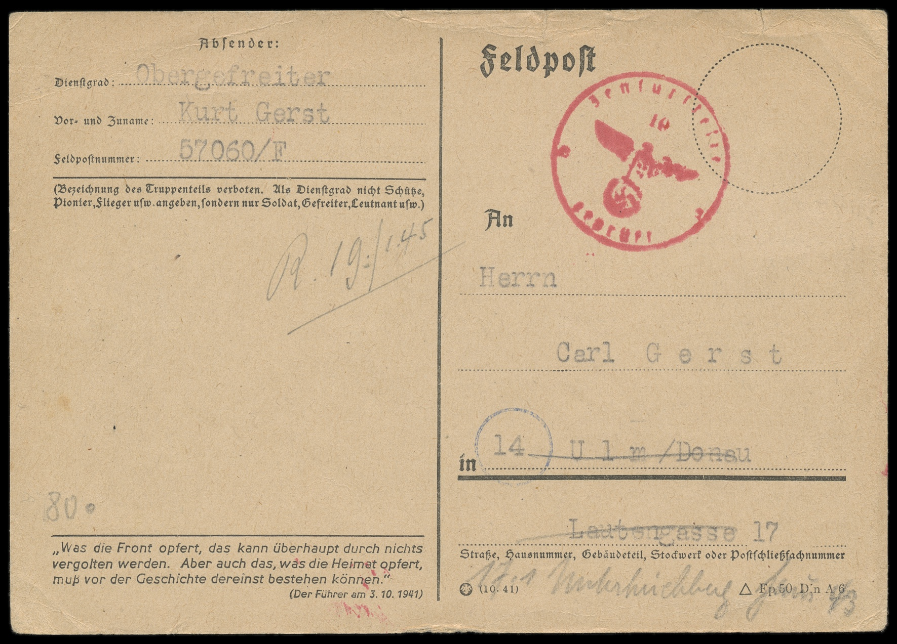 Lot 2909 - Main catalogue feldpost 2. weltkrieg -  Peter Harlos Auctions 42. Harlos Auktion