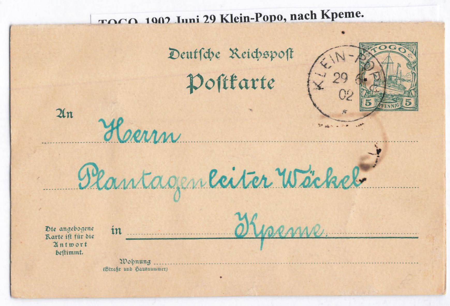 Lot 2193 - Auslandspostämter und Kolonien togo -  Peter Harlos Auctions 42. Harlos Auktion
